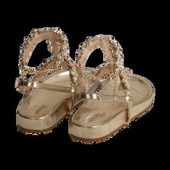 Sandali infradito gioiello oro in eco-pelle laminata, Primadonna, 154951992LMOROG036, 004 preview