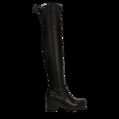 Stivali sopra il ginocchio neri suola in gomma, tacco 4 cm , Primadonna, 122808648EPNERO036, 001a
