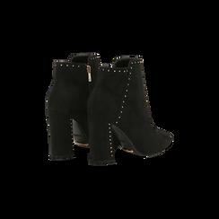 Tronchetti neri con mini-borchie, tacco 9 cm, Scarpe, 120381110MFNERO, 005 preview