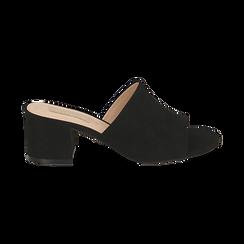 Mules nere in microfibra, tacco 5,50 cm , Scarpe, 152770341MFNERO036, 001 preview