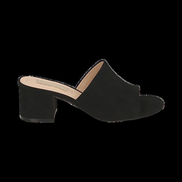 Mules nere in microfibra, tacco 5,50 cm , Scarpe, 152770341MFNERO036