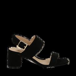 Sandali neri in microfibra con doppia fascia, tacco 7 cm , Scarpe, 132182481MFNERO036, 001a