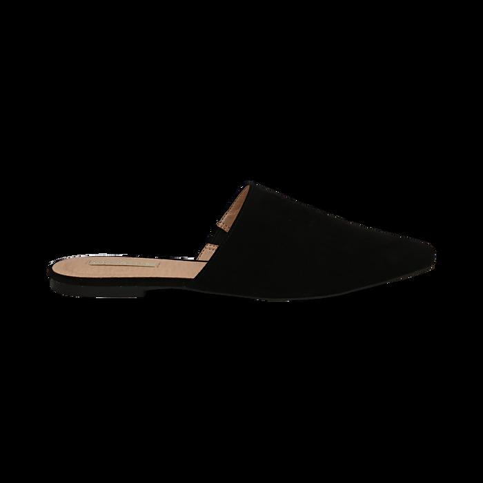 Mules flat nere in microfibra con punta affusolata, Scarpe, 134921861MFNERO036