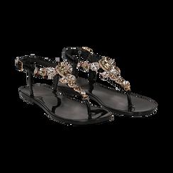 Sandali infradito neri in pvc con strass, Primadonna, 130900001PVNERO036, 002 preview