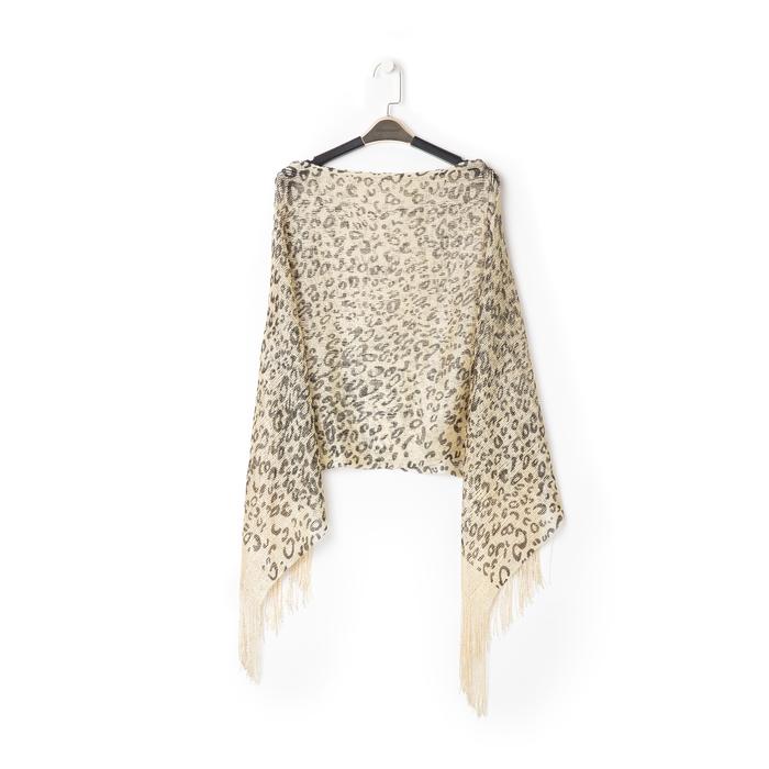 Poncho leopard marrone in tessuto laminato, Abbigliamento, 13B445077TSLEMAUNI