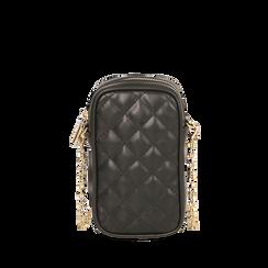 Porte téléphone noir matelassé, SACS, 165123279EPNEROUNI, 001a