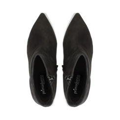 Tronchetti neri in vero camoscio, tacco midi 8 cm, Primadonna, 12D618502CMNERO, 004 preview