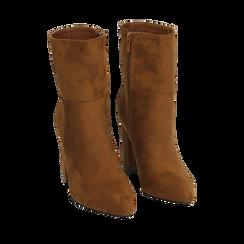 Ankle boots cuoio in microfibra, tacco 9,50 cm , Primadonna, 163026508MFCUOI036, 002a