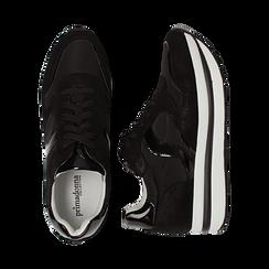 Sneakers nere in microfibra con maxi-suola platform, Scarpe, 132899261MFNERO036, 003 preview