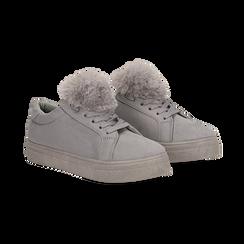Sneakers grigie con pon pon in eco-fur, Primadonna, 121081755MFGRIG, 002 preview