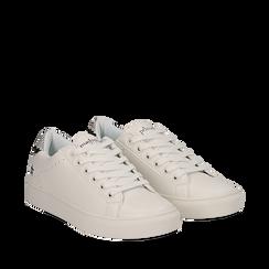 Sneakers bianche in eco-pelle dettaglio snake, Scarpe, 132619071EPBIAN035, 002a