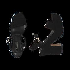 Sandali neri in microfibra, tacco zeppa 11 cm, Scarpe, 154968033MFNERO, 003 preview