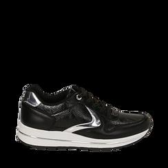 Sneakers nere in eco-pelle , Scarpe, 139300005EPNERO035, 001a