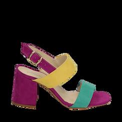 Sandalo multicolor in microfibra, tacco 8 cm, Sandali con tacco, 136100005MFVEGI039, 001a