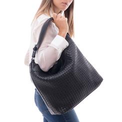 Hobo bag nera in eco-pelle intrecciata, Borse, 145700319EINEROUNI, 002a