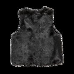 Smanicato eco-fur nero, Saldi, 12B400302FUNERO, 006 preview