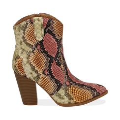 Camperos rosso/beige stampa pitone, tacco 9 cm, Scarpe, 154930037PTRSBE, 001 preview