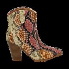 Santiags rose/beige en simili-cuir imprimé serpent, talon 9 cm, Chaussures, 154930037PTRSBE035, 001 preview