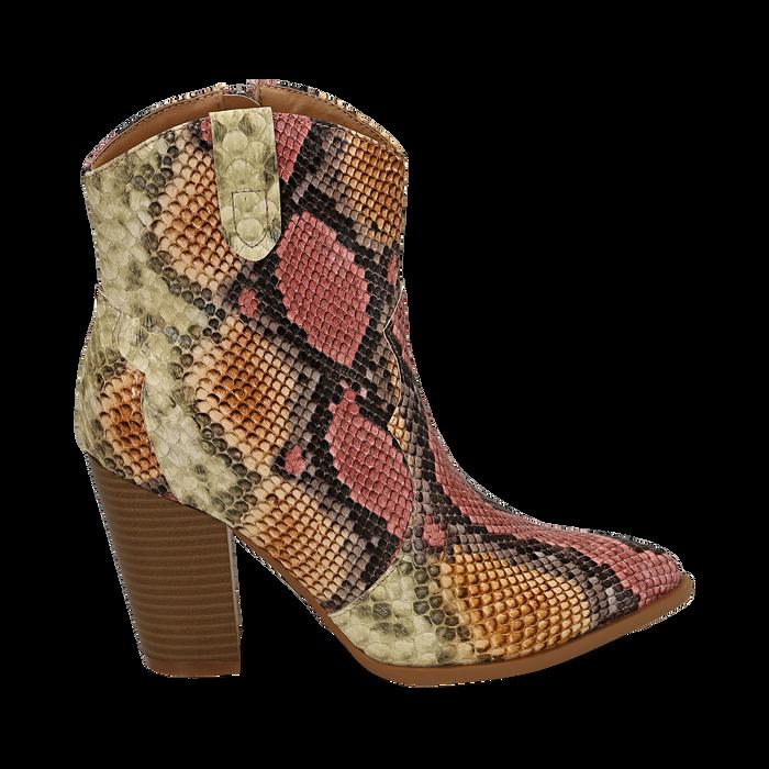 Santiags rose/beige en simili-cuir imprimé serpent, talon 9 cm, Chaussures, 154930037PTRSBE035