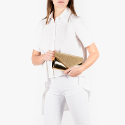 Pochette doré effet miroir avec des strass, Sacs, 155108562SPOROGUNI, 002 preview