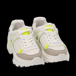 Dad shoes en tejido fosforescente color blanco/amarillo , Zapatos, 154106013TSBIGI036, 002a