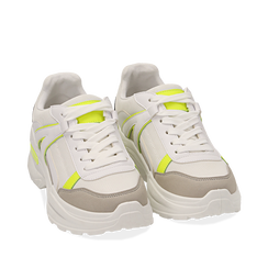 Dad shoes bianche/giallo fluo in tessuto, Sneakers, 154106013TSBIGI035, 002a