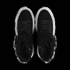 Sneakers nere con risvolto in eco-shearling, Primadonna, 124110063MFNERO, 004 preview