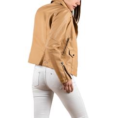 Chaqueta biker en eco-piel color beige, 156507781EPBEIG3XL, 002a