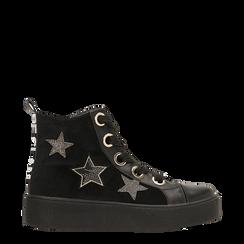 Sneakers nere in velluto con stelle , Scarpe, 121617684VLNERO, 001a