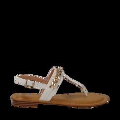 Sandali infradito bianchi in eco-pelle con catenella, Primadonna, 134988163EPBIAN036, 001a