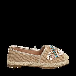 Espadrillas beige in rafia con pietre, Chaussures, 154902098RFBEIG036, 001a