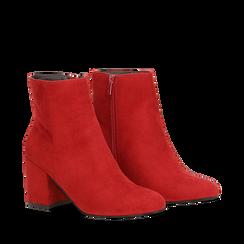 Ankle boots bordeaux in microfibra, tacco 7,5 cm , Primadonna, 162762715MFBORD035, 002a