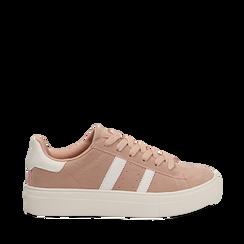 Sneakers rosa in microfibra stile vintage Seventies, Scarpe, 130101157MFROSA035, 001a