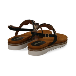Sandali infradito neri in eco-pelle con suola bianca, Primadonna, 134922304EPNERO035, 004 preview