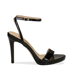 Sandali neri in vernice, tacco stiletto 11 cm, Scarpe, 132127401VENERO035, 001a