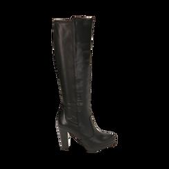 Stivali neri, tacco 9,50 cm , Primadonna, 160619077EPNERO035, 001a