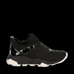 Sneakers senza lacci nere in lycra, con dettagli in vernice, Scarpe, 145017483LYNERO036, 001a