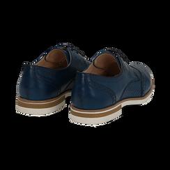 Stringate blu in eco-pelle con lavorazione Duilio, Scarpe, 130609561EPBLUE036, 004 preview
