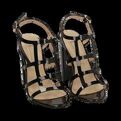 Sandali neri in vernice, tacco 10,50 cm, Scarpe, 152123413VENERO036, 002 preview