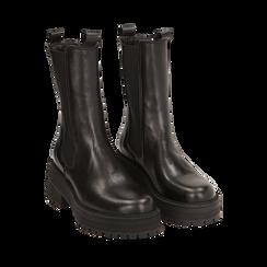 Chelsea boots neri in pelle di vitello, suola 6 cm , Primadonna, 168915835VINERO036, 002 preview
