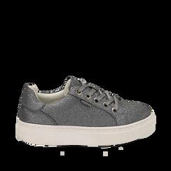 Sneakers argento glitter, suola 4 cm , Scarpe, 142509512GLARGE036, 001a