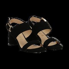 Sandali neri in microfibra con doppia fascia, tacco 7 cm , Sandali con tacco, 132182481MFNERO036, 002 preview