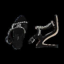 Sandalias gioiello en microfibra color negro, tacón 11,50 cm , OPORTUNIDADES, 152131530MFNERO036, 003 preview