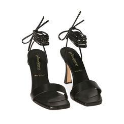 Sandali lace-up neri, tacco 9,5 cm , 17L800194EPNERO035, 002a