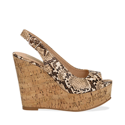 Sandali platform beige in eco-pelle, effetto snake skin, zeppa in sughero 12 cm , Scarpe, 134900982PTBEIG035, 001a