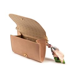 Mini bag nude in microfibra con manico foulard in raso, Primadonna, 155122756MFNUDEUNI, 004 preview