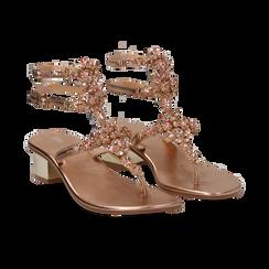 Sandali gioiello infradito rosa in laminato, tacco 6 cm, Primadonna, 134986238LMROSA035, 002 preview