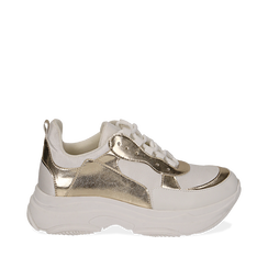 Dad shoes bianco/oro in eco-pelle, Sneakers, 15K429169EPBIOR035, 001a