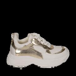 Dad shoes en eco-piel color blanco/dorado, Zapatos, 15K429169EPBIOR036, 001a