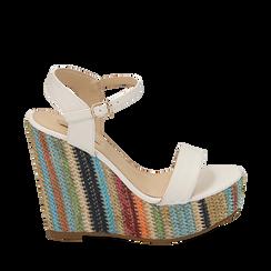 Sandali bianchi in eco-pelle, zeppa 12 cm , Zapatos, 154917229EPBIAN040, 001a